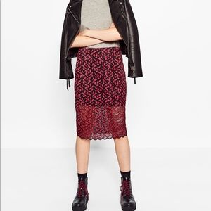 Zara Midi Length Lace Skirt